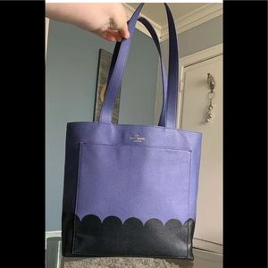 Kate Spade Blue and Black Leather Large Tote